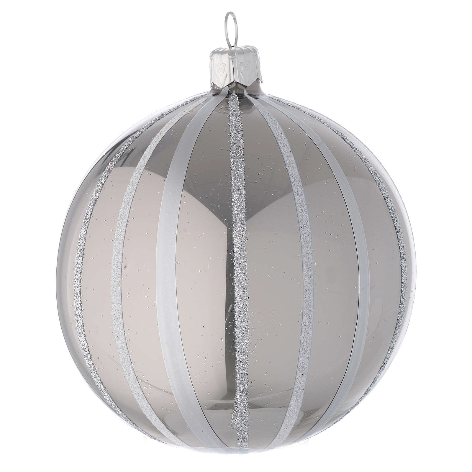 Bauble in silver blown glass with stripes 100mm 4