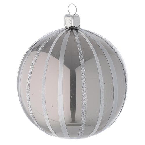 Addobbo Natale palla vetro argento righe 100 mm 1