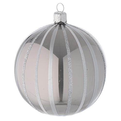 Bauble in silver blown glass with stripes 100mm 1