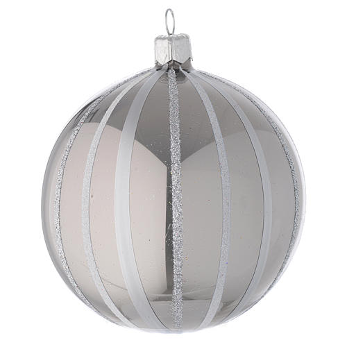 Bauble in silver blown glass with stripes 100mm 2