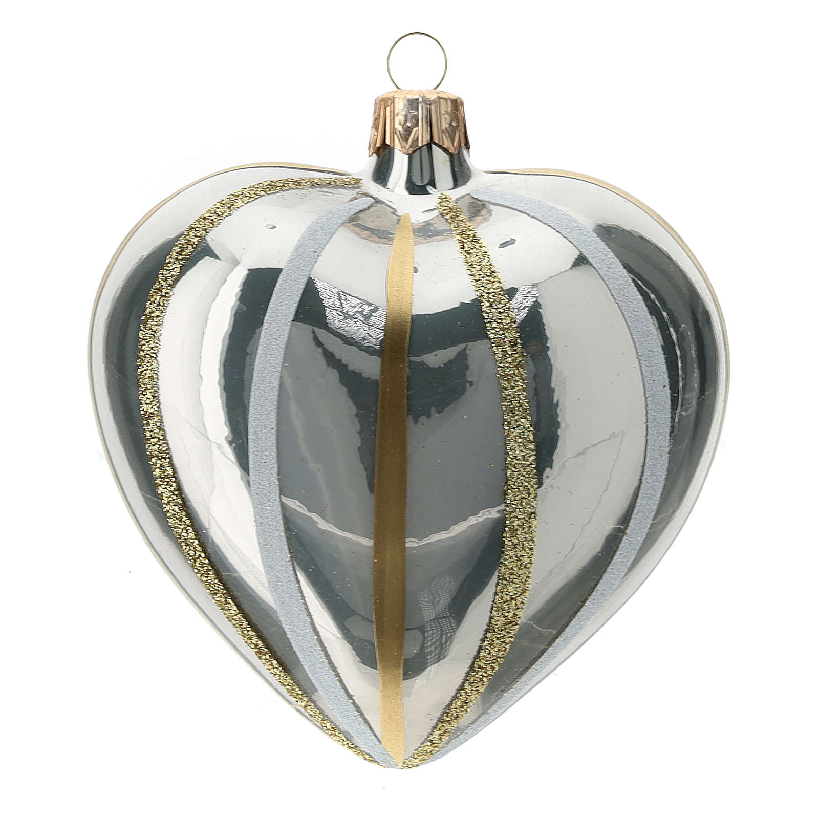Heart Shaped Bauble in silver blown glass with stripes 100mm 4