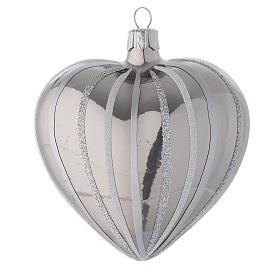 Heart Shaped Bauble in silver blown glass with stripes 100mm s2