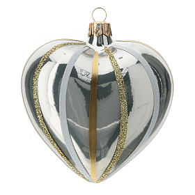 Heart Shaped Bauble in silver blown glass with stripes 100mm s1