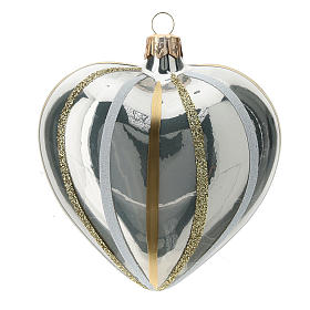 Heart Shaped Bauble in silver blown glass with stripes 100mm s3