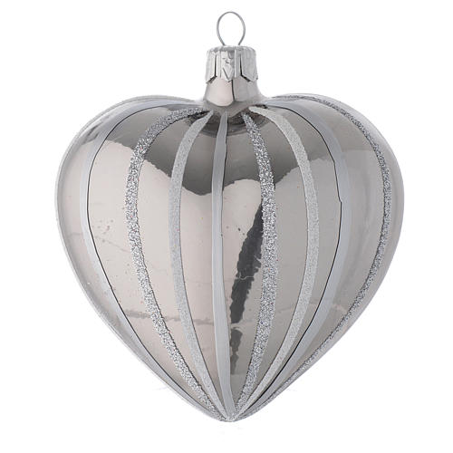 Heart Shaped Bauble in silver blown glass with stripes 100mm 2