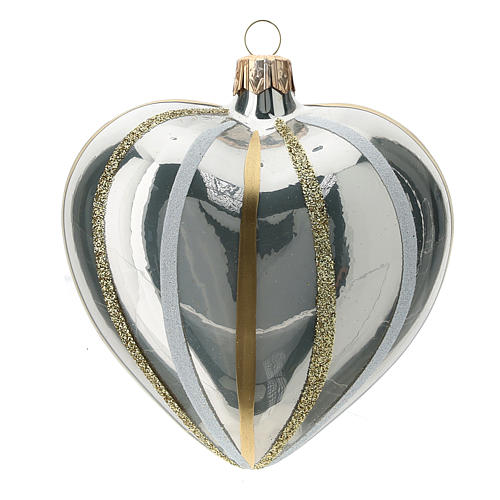 Heart Shaped Bauble in silver blown glass with stripes 100mm 3