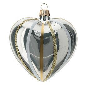 Bola de Navidad corazón ve vidrio plata con rayas 100 mm s1