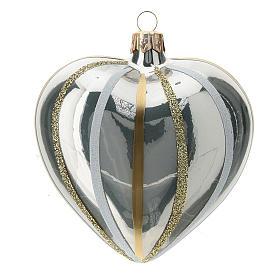 Bola de Navidad corazón ve vidrio plata con rayas 100 mm s3