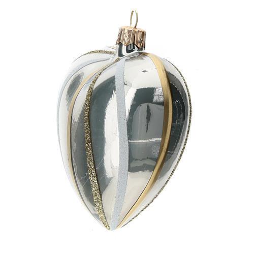 Bola de Navidad corazón ve vidrio plata con rayas 100 mm 2