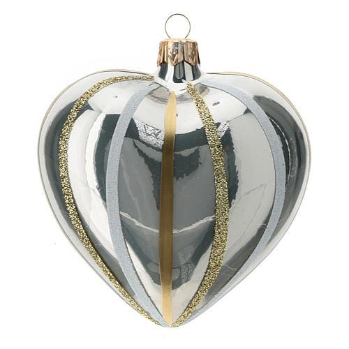 Décor coeur verre soufflé argent rayures 100 mm 1