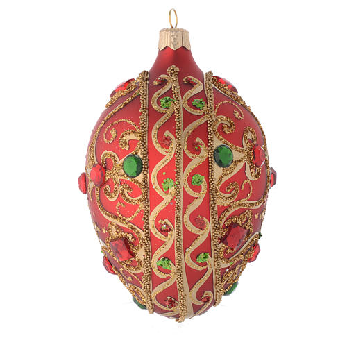 Oval bauble in red glass with gold decoration and stones 130mm 2