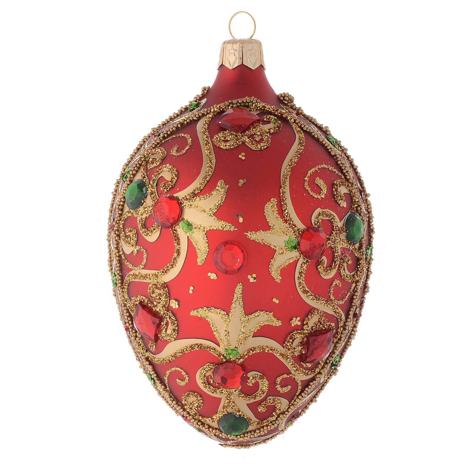 Décor Noël verre boule ovale rouge/or 130 mm 4