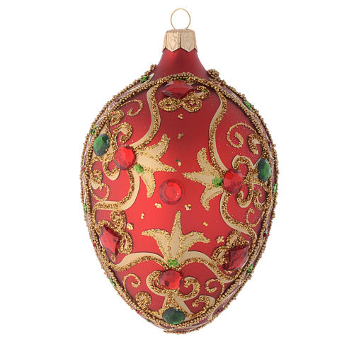 Oval bauble in red glass with gold decoration and stones 130mm 1
