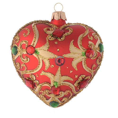 Heart Shaped bauble in red glass with gold decoration and stones 100mm 1