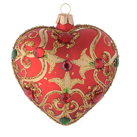 Heart Shaped bauble in red glass with gold decoration and stones 100mm s2