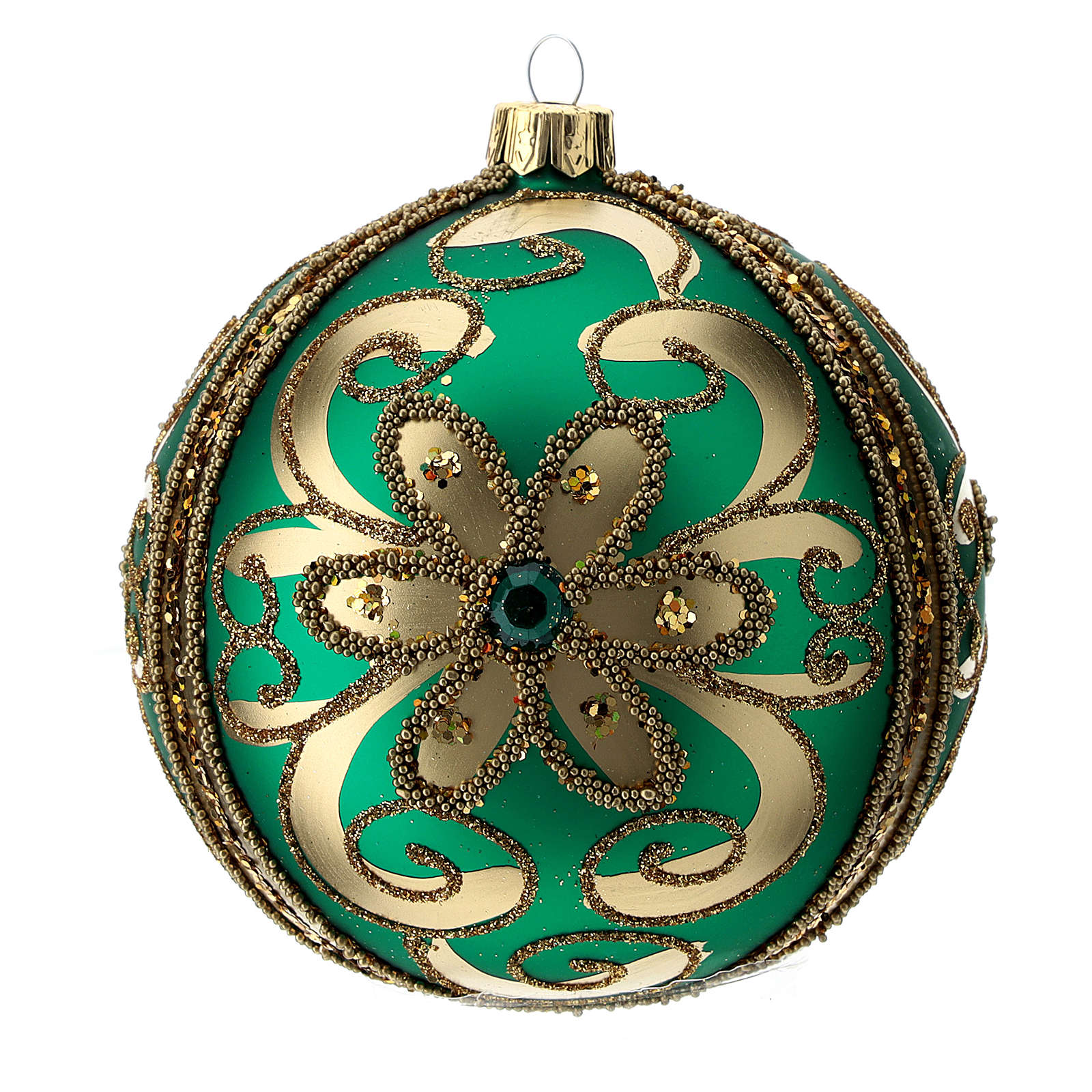 Bauble in green blown glass with gold glitter decoration 100mm 4
