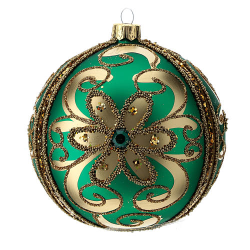 Bauble in green blown glass with gold glitter decoration 100mm 1