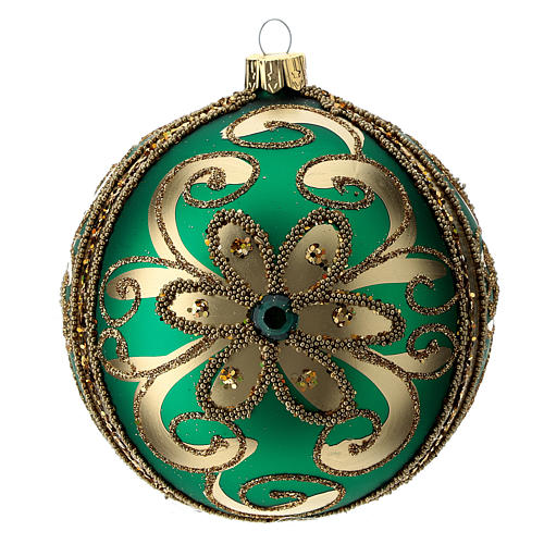 Bauble in green blown glass with gold glitter decoration 100mm 3