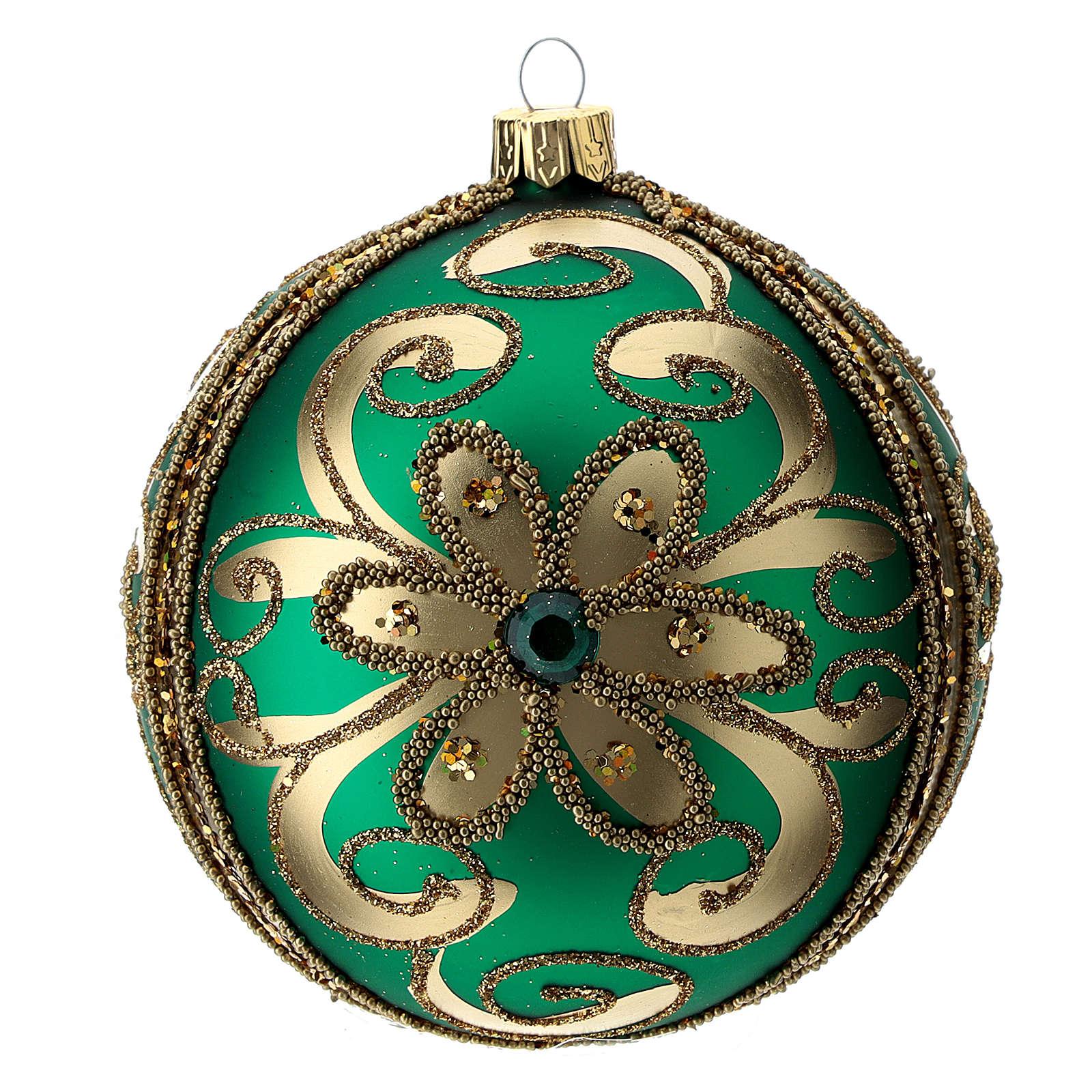 Adorno árbol de Navidad de vidrio verde y oro 100 mm 4