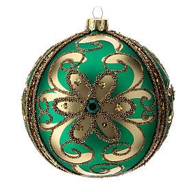 Bolas de Navidad: Adorno árbol de Navidad de vidrio verde y oro 100 mm