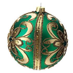 Adorno árbol de Navidad de vidrio verde y oro 100 mm s2
