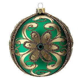 Adorno árbol de Navidad de vidrio verde y oro 100 mm s3