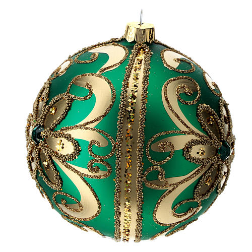Adorno árbol de Navidad de vidrio verde y oro 100 mm 2