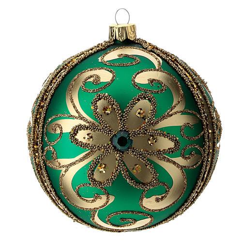 Adorno árbol de Navidad de vidrio verde y oro 100 mm 3