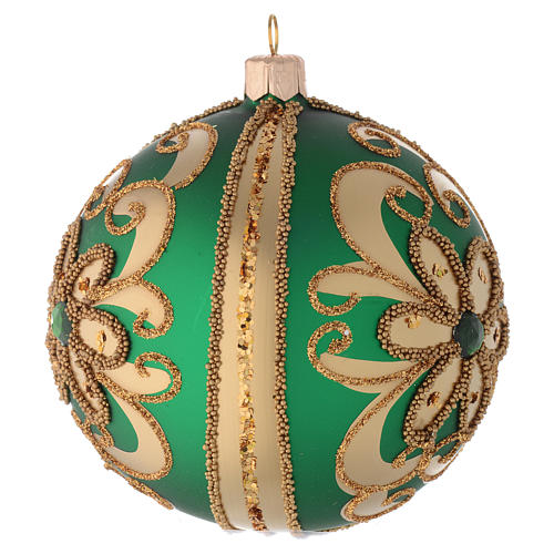 Bauble in green blown glass with gold glitter decoration 100mm 2