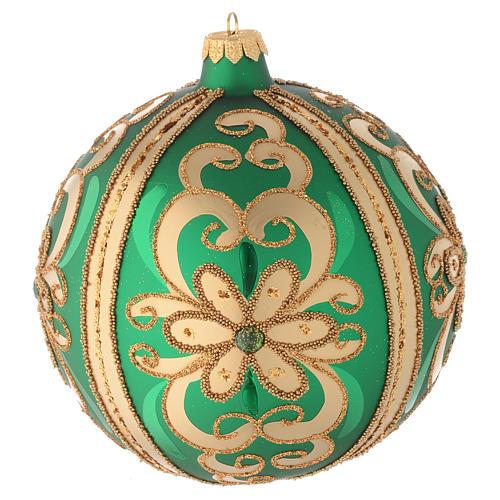 Bola de Navidad de vidrio soplado verde decoraciones oro 150 mm 1