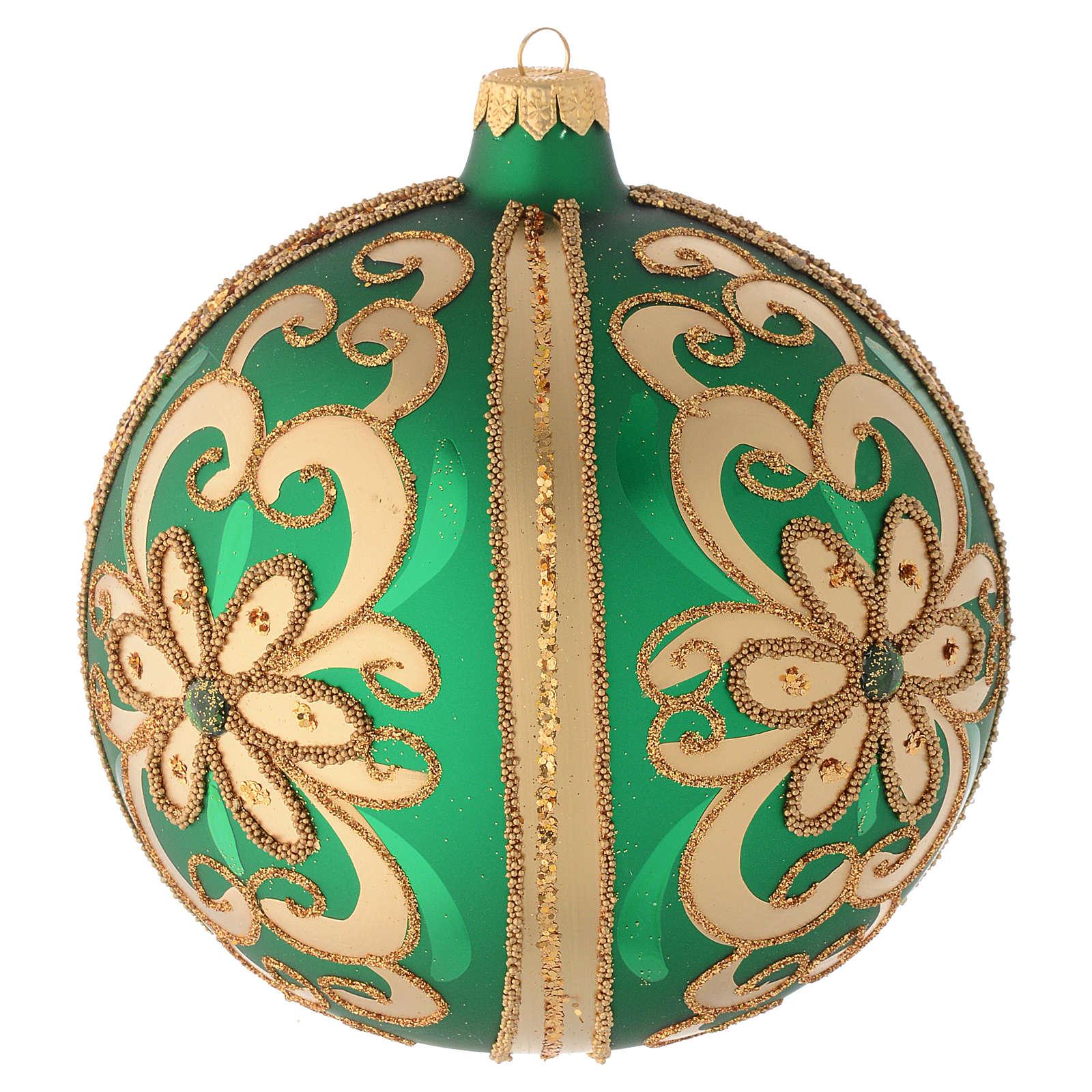 Palla vetro soffiato decoro verde/oro 150 mm 4