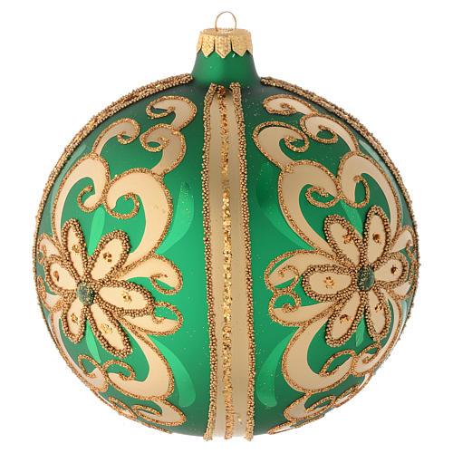 Palla vetro soffiato decoro verde/oro 150 mm 2
