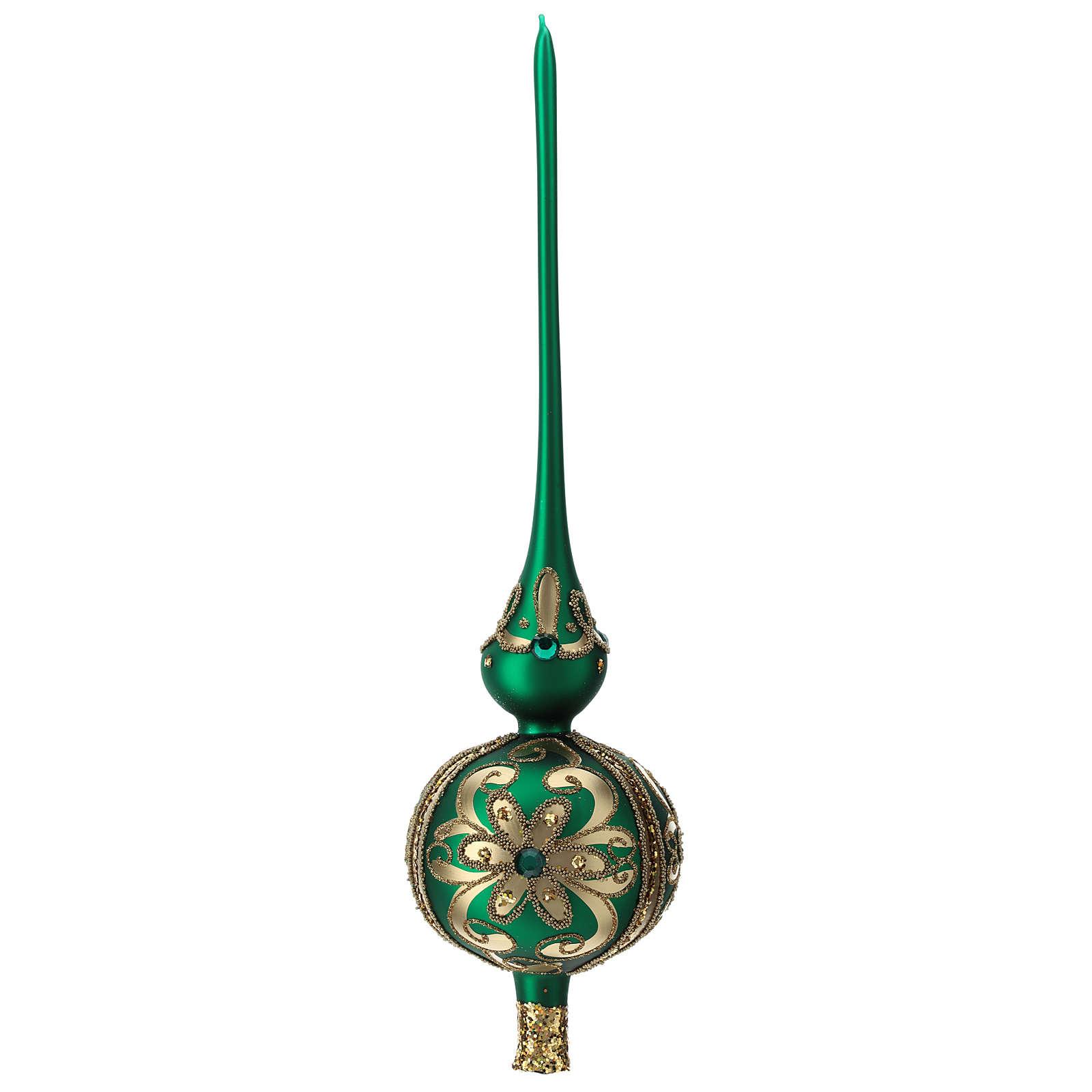 Punta árbol de Navidad de vidrio soplado verde y decoraciones oro 4