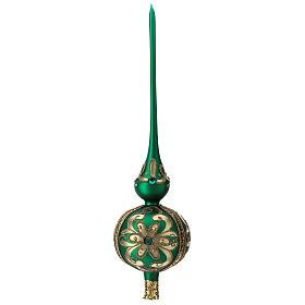 Punta árbol de Navidad de vidrio soplado verde y decoraciones oro s3