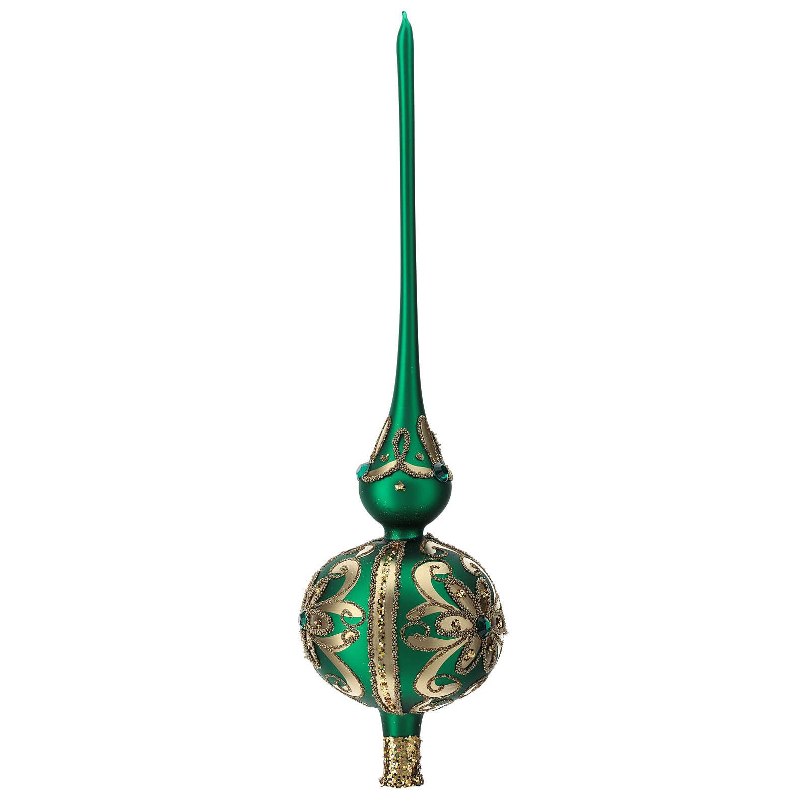 Puntale vetro soffiato decoro verde/oro 4