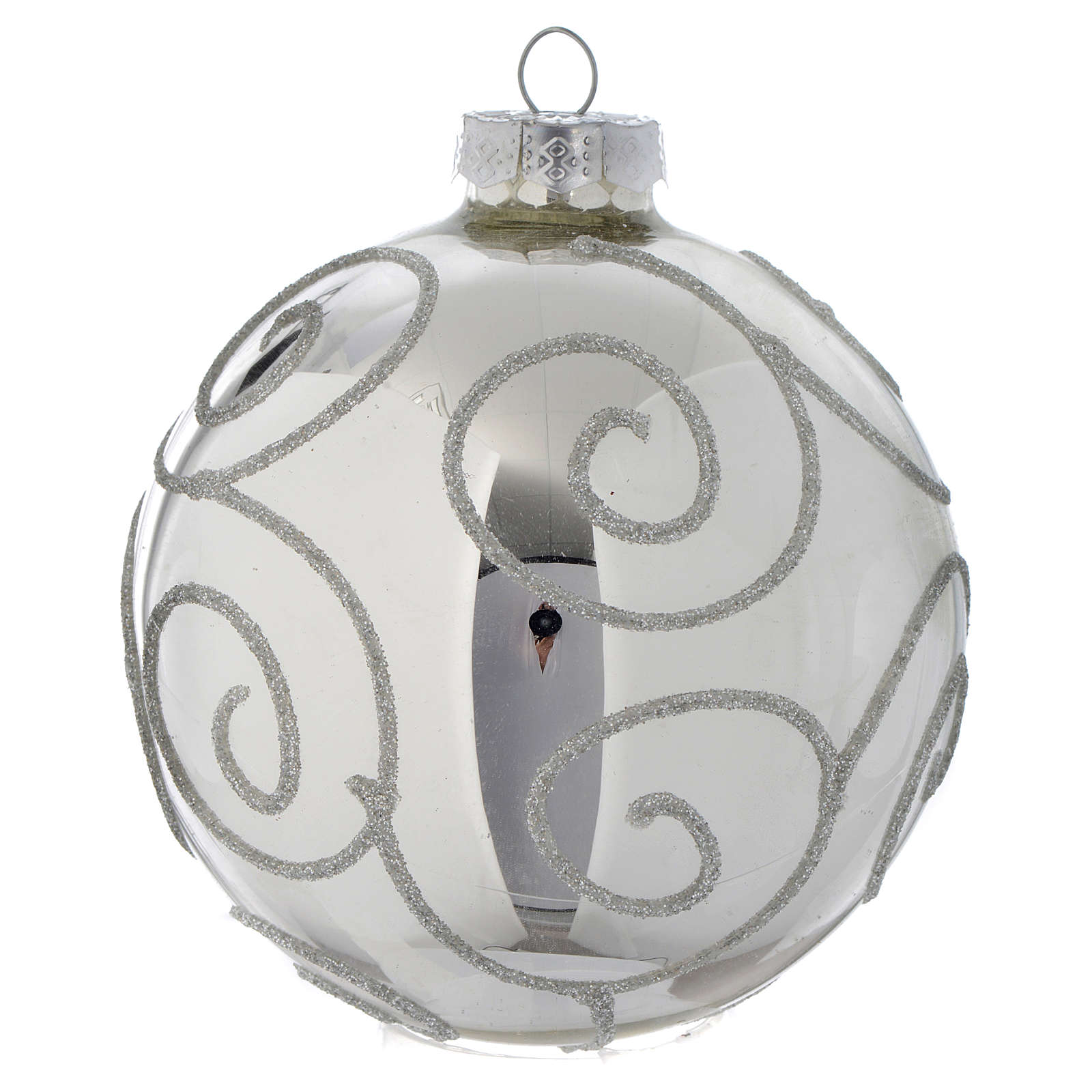 Glass bauble, silver with glitter, 90mm diameter 4