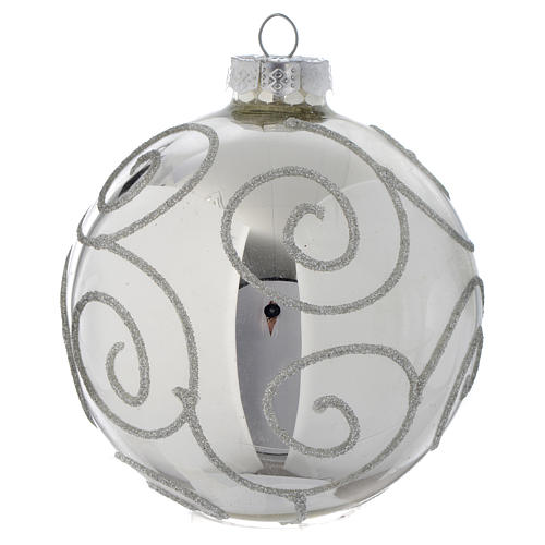 Glass bauble, silver with glitter, 90mm diameter 2