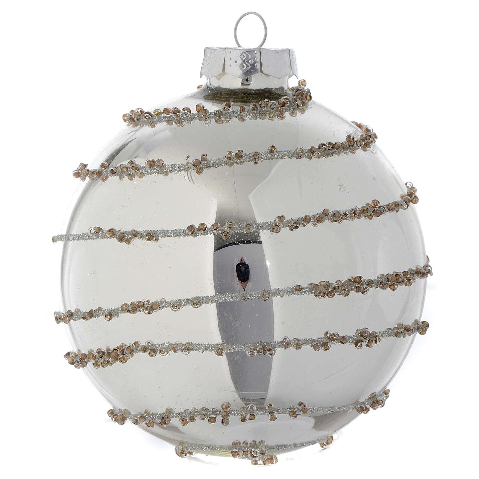 Palla Albero di Natale vetro glitter Silver 90 mm 4