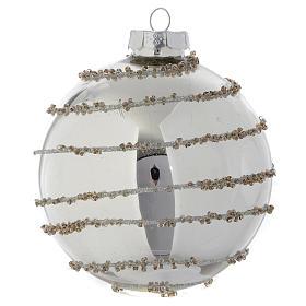 Palla Albero di Natale vetro glitter Silver 90 mm s3