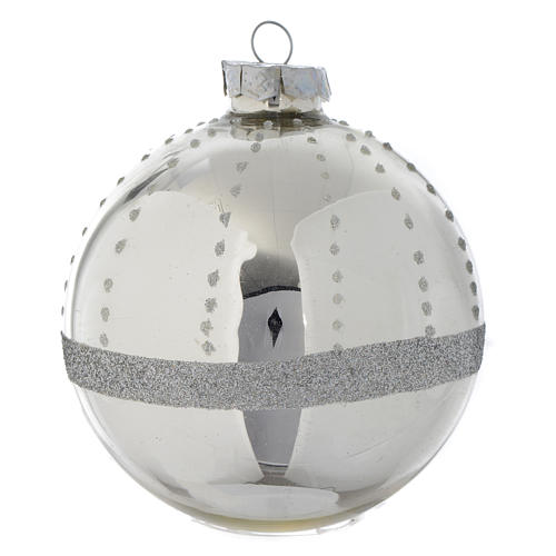 Palla Albero di Natale vetro glitter Silver 90 mm 1