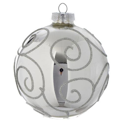 Palla Albero di Natale vetro glitter Silver 90 mm 2