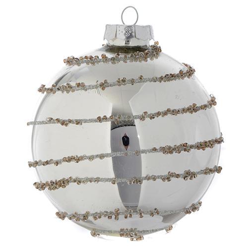 Palla Albero di Natale vetro glitter Silver 90 mm 3
