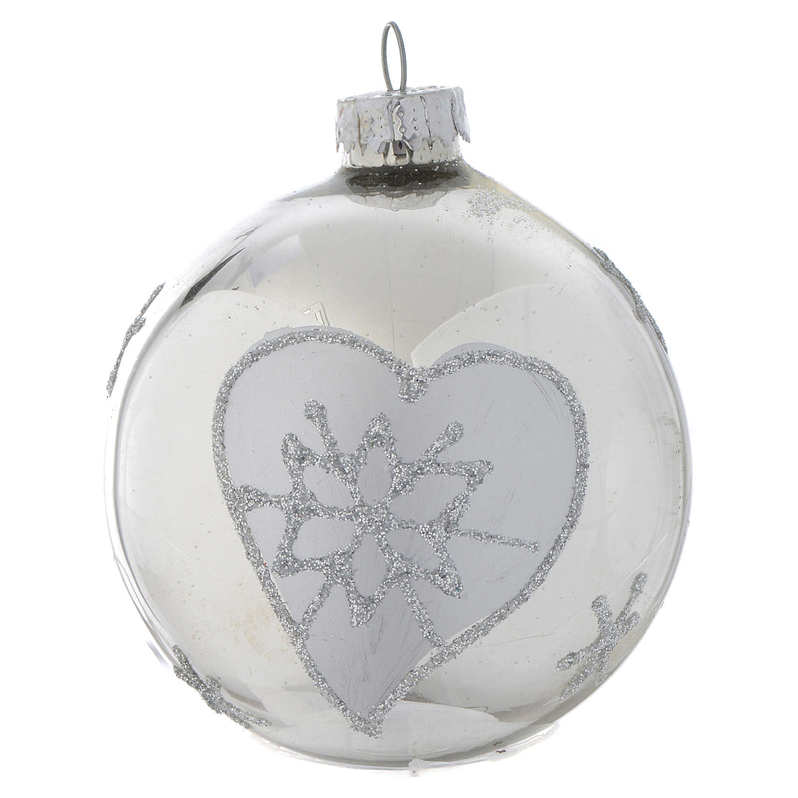 Silver glass bauble, 70mm diameter 4