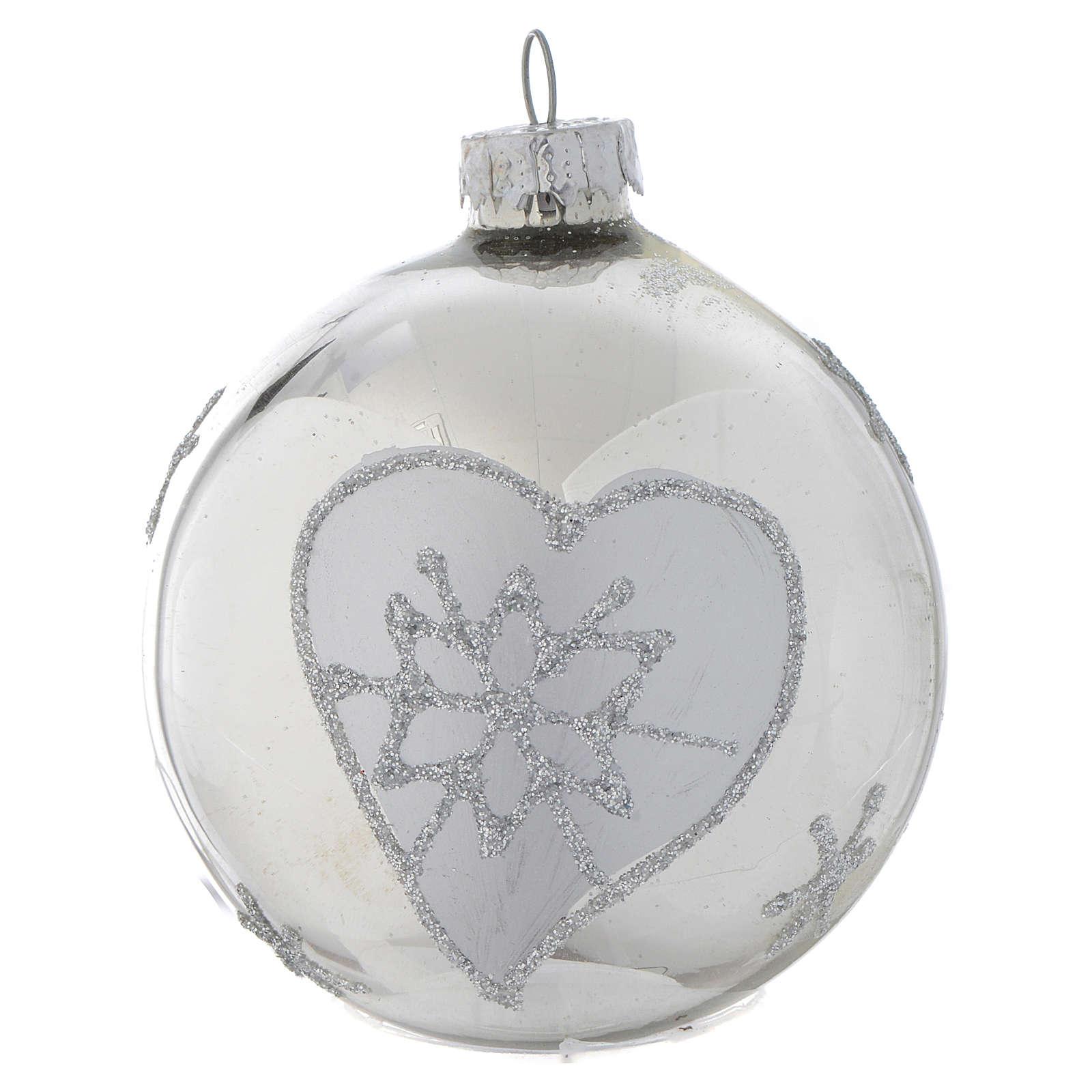 Palla vetro Albero di Natale Silver 70 mm 4