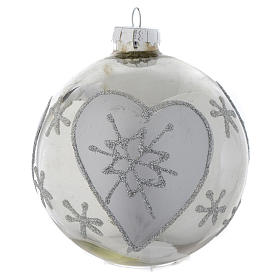 Silver glass bauble, 90mm diameter s3