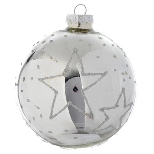 Silver glass bauble, 90mm diameter 2