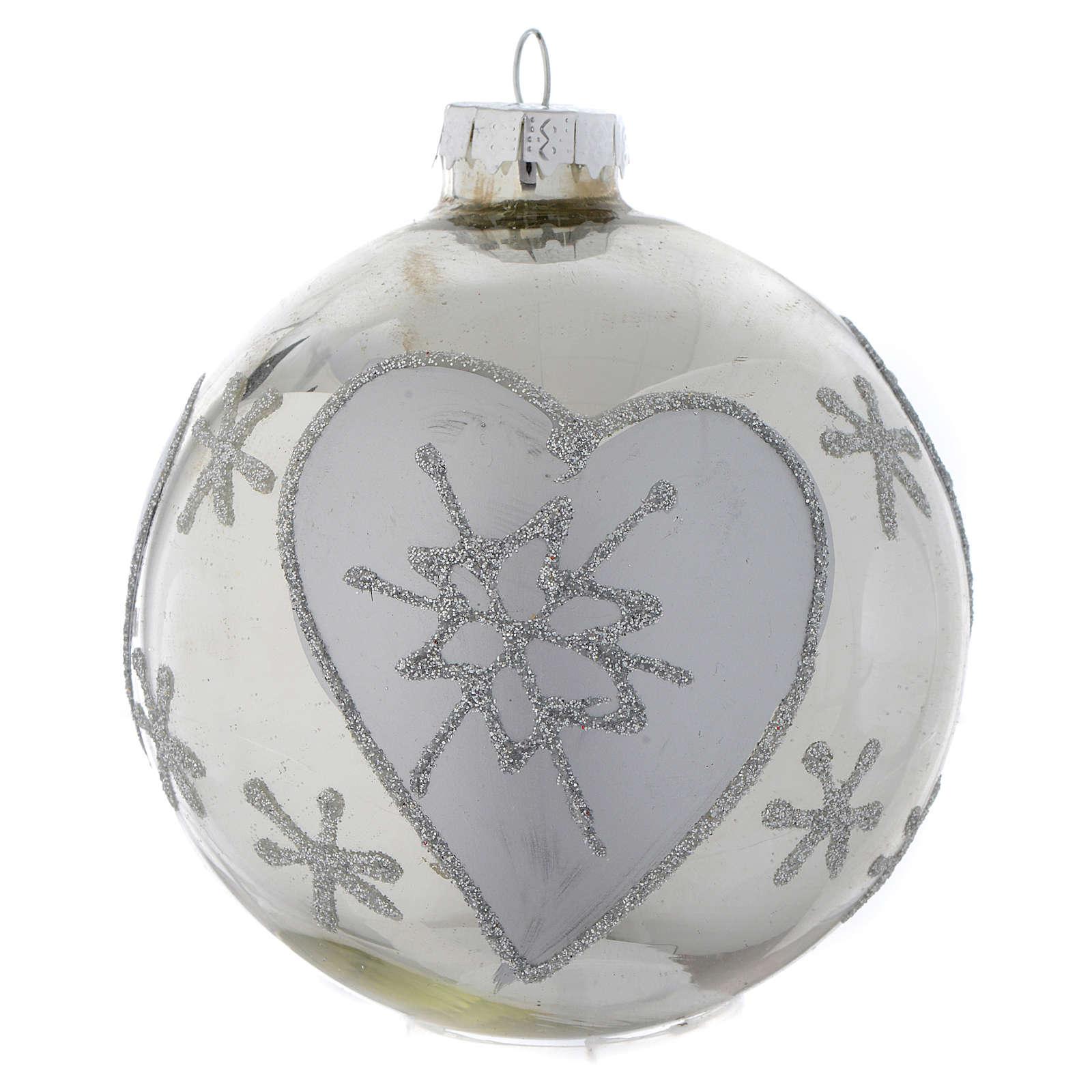 Palla vetro Albero di Natale Silver 90 mm 4