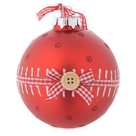 Bola vidrio roja árbol de Navidad 90 mm s1