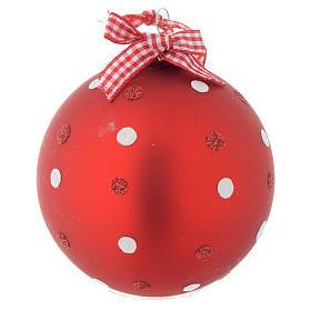 Bola vidrio roja árbol de Navidad 90 mm s2
