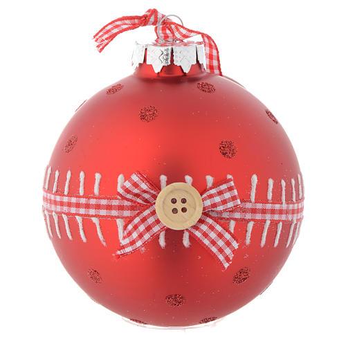 Bola vidrio roja árbol de Navidad 90 mm 1